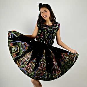 Vintage Western Swing Dress Hand Painted & Sequins